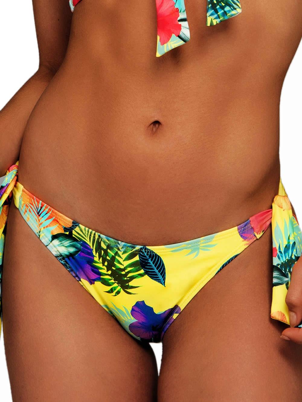 a7d60d0ef46 Μαγιό BLU4U Yellow Hibiscus - Bikini Κανονικό Κοφτό - Δένει στο Πλάι -  Καλοκαίρι 2019