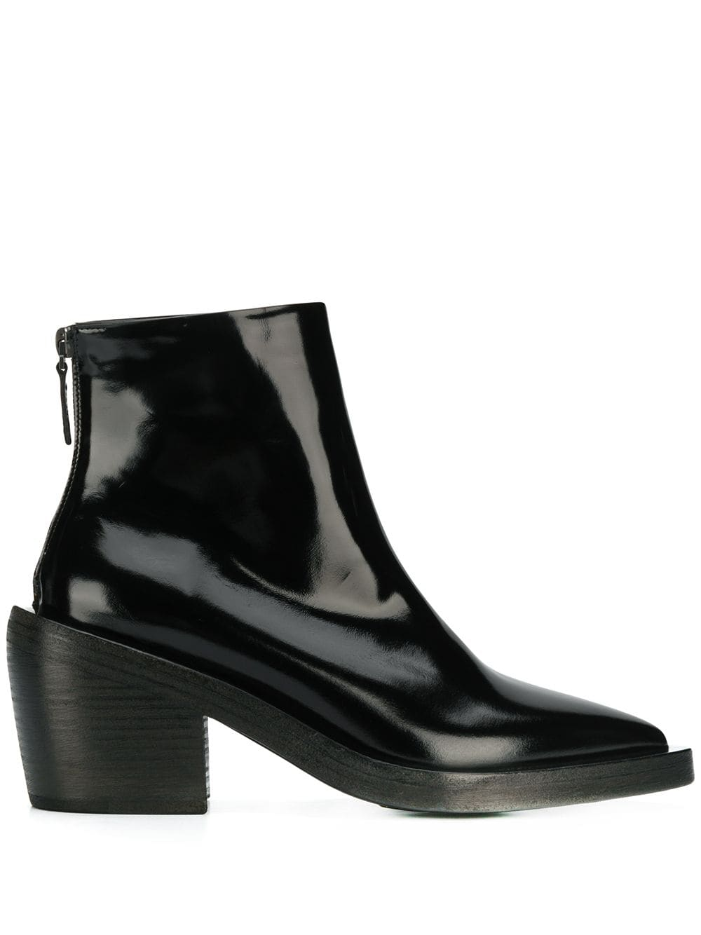 Marsèll patent pointed ankle boots - Black