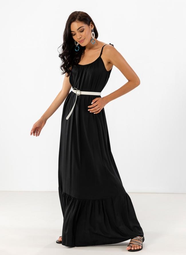 9cf04f4e01a The Fashion Project Αέρινο maxi φόρεμα με δετούς ώμους - Μαύρο - 08256002001