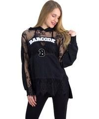 No Stress Γυναικεία μπλούζα φούτερ με δαντέλα μαύρο διαφανές 8153158 b95fb0451cf