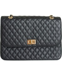 853bfd11477 Huxley & Grace Γυναικεία καπιτονέ τσάντα ώμου μαύρη δερματίνη 60663F