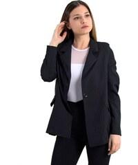 Γυναικείο σακάκι με βάτες και κουμπί Coocu μαύρο μονόχρωμο 64670D 337b690f57a