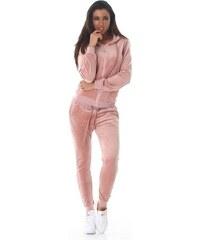 679e87d56241 LX Fashion 61060 LX Μοντέρνα βελουτέ φόρμα - Ροζ
