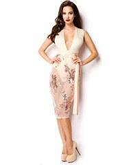 AXO Style 8544 AX Ιδιαίτερο φόρεμα με παγιέτες και διαφάνεια - μπέζ ca717393d23