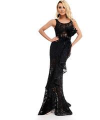 RO FASHION 9247 RO Βραδινό μάξι φόρεμα με δαντέλα και βολάν - Μαύρο 62f2be6af66