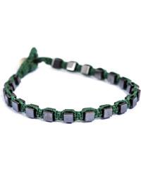 Miss Mad Βραχιόλι με δεμένες χάντρες αιματίτη 4mm και σχήμα κύβος σε  πράσινο νήμα bea867e9189