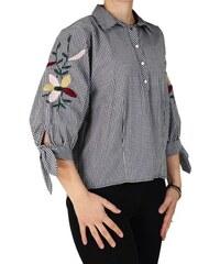 Γυναικείο Πουκάμισο Με Κεντήματα Forel 548105 Ασπρόμαυρο Καρό forel 548105  aspromayro 847eb9da20b