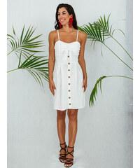 a3f1041d5488 Stylegr Φόρεμα λευκο κοντό με τιράντα κουμπιά και φιόγκο στο στήθος