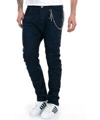 Tony Moro Ανδρικό σκούρο μπλε τζιν παντελόνι με λεπτομέρειες γαζιού και  αλυσίδα 814b143e801