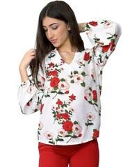 Miss Pinky Μπλούζα floral με μακρύ μανίκι - ΑΣΠΡΟ 104-1317 cbe65298c59