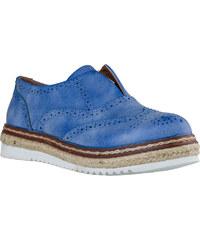 Δερμάτινο Casual Oxford με Χαμηλή Πλατφόρμα 3cm από την Envie Shoes σε  Γαλάζιο Χρώμα κωδ. 16e760710e4
