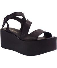 Moods Shoes Moods Γυναικείες Πλατφόρμες Πέδιλα 10102 Μαύρο Δέρμα 413835 f797b32960a