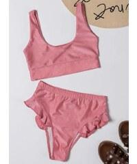 The Fashion Project Σετ ψηλόμεσο bikini με βολάν - Ροζ - 001 e5a31170a92