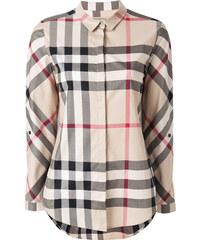 8fd138e8268b Burberry Stretch-Cotton Check Shirt - Neutrals