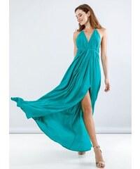 NAIBA Maxi φόρεμα με άνοιγμα στο πλάι - Πράσινο - 05114016001 2b11384a930