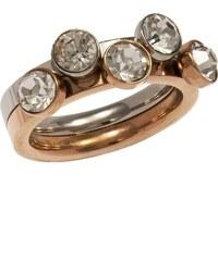 Mertzios.gr Διπλό δαχτυλίδι ρόζ χρυσό ατσάλι με κρύσταλλα swarovski d9e9077b805