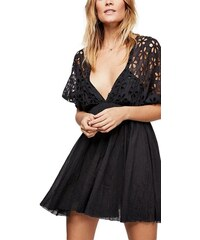 5e1d5e00b937 Free People Bella μίνι φόρεμα μαύρο με αζούρ σχέδιο