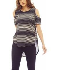 60dbccf872cc AX Paris Γυναικεία μπλούζα ριγέ μαύρο-κρεμ με έξω ώμους
