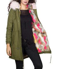 Osley Γυναικείο παρκά χακί με πολύχρωμη faux-γούνα 89a21f89565