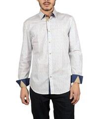 70452a64707f Ανδρικό πουκάμισο Missone λευκό με μπλέ μικρά ανθάκια
