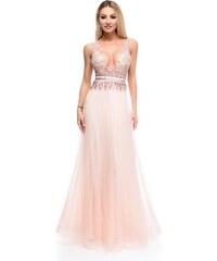 RO FASHION 9264 RO Μάξι φόρεμα με παγιέτες και τούλι υψηλής ποιότητας - Ροζ 2c30879e1a0