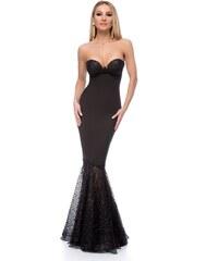 c56a75daccb6 RO FASHION 9265 RO Μάξι στράπλες γοργονέ φόρεμα με glitter - Μαύρο