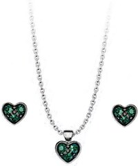 Paraxenies Σέτ κολιέ και σκουλαρίκια συλλογή Love καρδιές από ασήμι με  πέτρες Swarovski 33138a2dd27