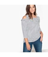 047941800dc0 CASTALUNA Ριγέ μπλούζα με βολάν και ανοιχτούς ώμους