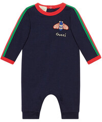 Gucci Kids Baby cotton sleepsuit with Web - Blue cd8abb09aee