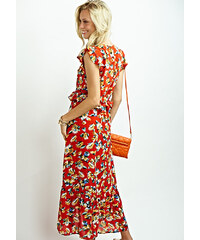 Cuca Φόρεμα Floral Ασύμμετρο Με Βολάν 33f7e10a81f