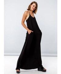 Noobass Maxi φόρεμα με λεπτά ραντάκια χιαστί στην πλάτη - Μαύρο -  05255002009 c91c56eddb1