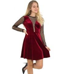 No Stress Γυναικείο φόρεμα velvet κλος με διαφάνεια κόκκινο 8051175 3279a200378