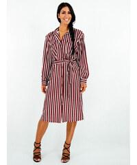 d9b6c077b3a4 Stylegr Φόρεμα midi ριγέ Μπορντό