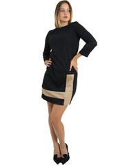 Outlet Γυναικείο μαύρο μπεζ φόρεμα σε άλφα γραμμή UK30028F 52fa0c66e5d
