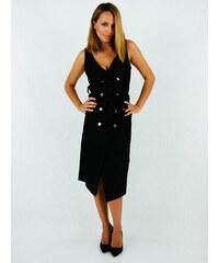 dba1c4a2fabd Stylegr Μαύρο φόρεμα με χρυσά κουμπιά και ζώνη