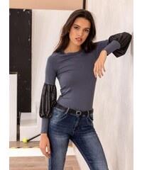 Noobass Μπλούζα με μεταλλικό χρώμα στα μανίκια - Ανθρακί - 05274039009 821fee51533