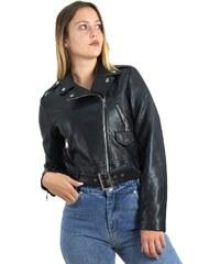 Γυναικείο κοντό μπουφάν δερματίνη μαύρο λοξό φερμουάρ AW572 9ed24d9f6af