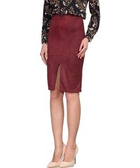 Huxley   Grace Γυναικεία καφέ σουέντ φούστα με ασημί φερμουάρ 8171G ... 167147e4939
