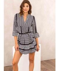 The Fashion Project Φόρεμα σε άνετη γραμμή με γεωμετρικά σχήματα -  Λευκό Μαύρο - 001 8a2d07b938e