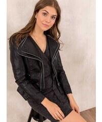 The Fashion Project Μεσάτο biker jacket με διπλό γιακά - Μαύρο - 05707002004 06319b37d81