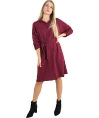 Marlen Γυναικείο μπορντό μακρύ πουκαμισοφόρεμα ζωνάκι 1175823F 8f6525234a7