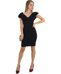 No Stress Γυναικείο μαύρο μονόχρωμο Scuba φόρεμα βολάν 8295129 340c717133e