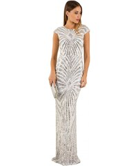 DeCoro F13221 Φόρεμα maxi με παγιέτες - ΑΣΠΡΟ - 18 2a45b0fabff