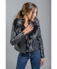 BISTON-SPLENDID LEATHER JACKET ΜΕ ΓΟΥΝΑ Μαύρο e2434fd3048