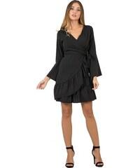 7b09af6ff18b DeCoro F2504 Φόρεμα Κρουαζέ με Μανίκια Καμπάνα - ΜΑΥΡΟ - 10