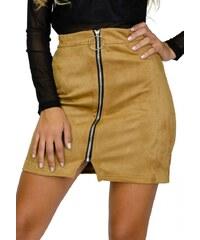 OEM Φούστα mini suede με φερμουάρ - ΩΧΡΑ 108-1076 fd49798c5b6