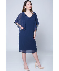 67a5ba66f49b Happysizes Midi μπλε φόρεμα με χάντρες στη λαιμόκοψη