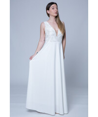 1fa496ce12b Happysizes Maxi φόρεμα με μπούστο κεντημένο με πούλιες και διαφάνεια