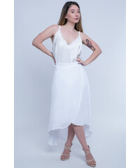 Happysizes Κρουαζέ midi φούστα με ασύμμετρο κλος τελείωμα 54cad53af60