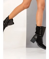 1fafb8b502b The Fashion Project Suede μποτάκια με τετράγωνο τακούνι και strass στη  γλώσσα - Μαύρο - 002
